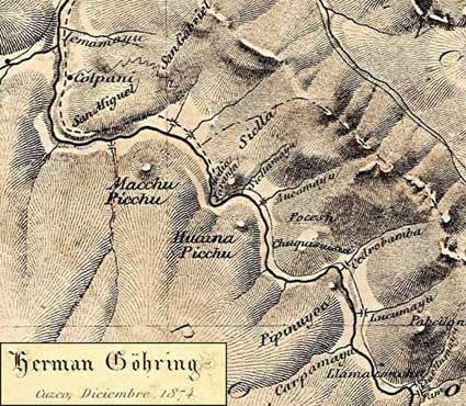 Herman Göhring Karte Machu Picchu von 1874