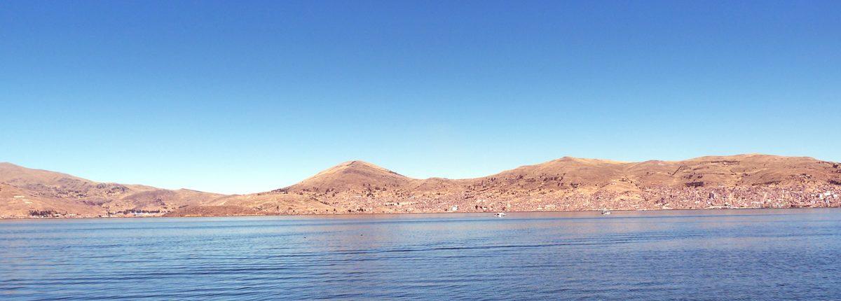 Vista del lago Titicaca desde Puno