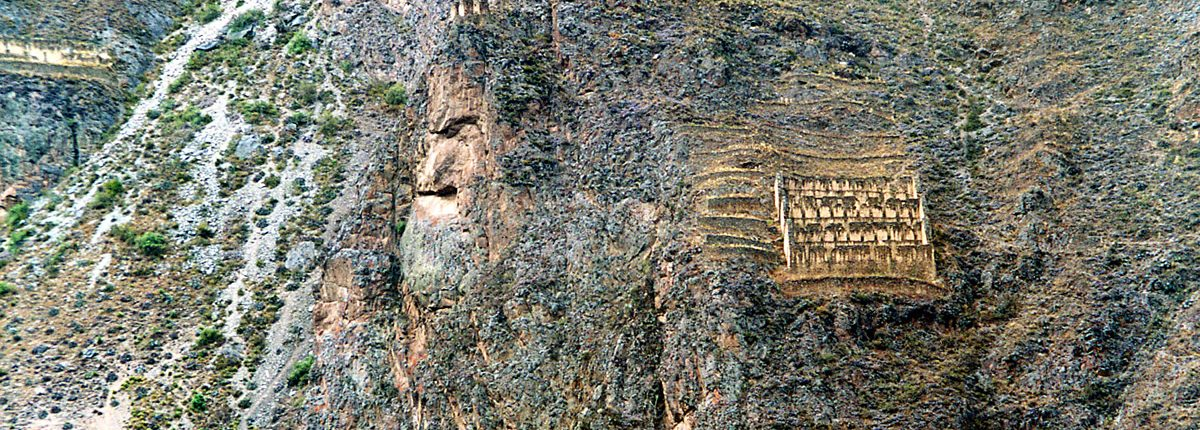 Ollantaytambo Gesicht in Felswand