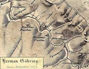 Karte Machu Picchu von Herman Goering 1874